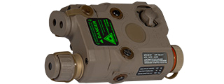 AN/PEQ-15 L.E.D. WHITE LIGHT + GREEN LASER w/IR LENS (BODY COLOR: DARK EARTH)