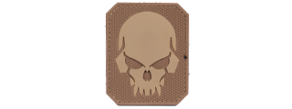 AC-389B PIRATE SKULL PVC PATCH (COLOR: TAN & COYOTE BROWN)