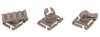AC-505T ACCESSORY CLIP - 3 TYPES (DARK EARTH) FOR WEBBING