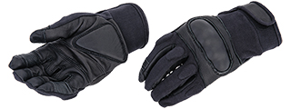AC-806M Touch Screen Finger Hard Knuckle Gloves (Black) - Medium
