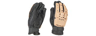AMA TACTICAL AIRSOFT HARD BACK FULL FINGER GLOVES - TAN