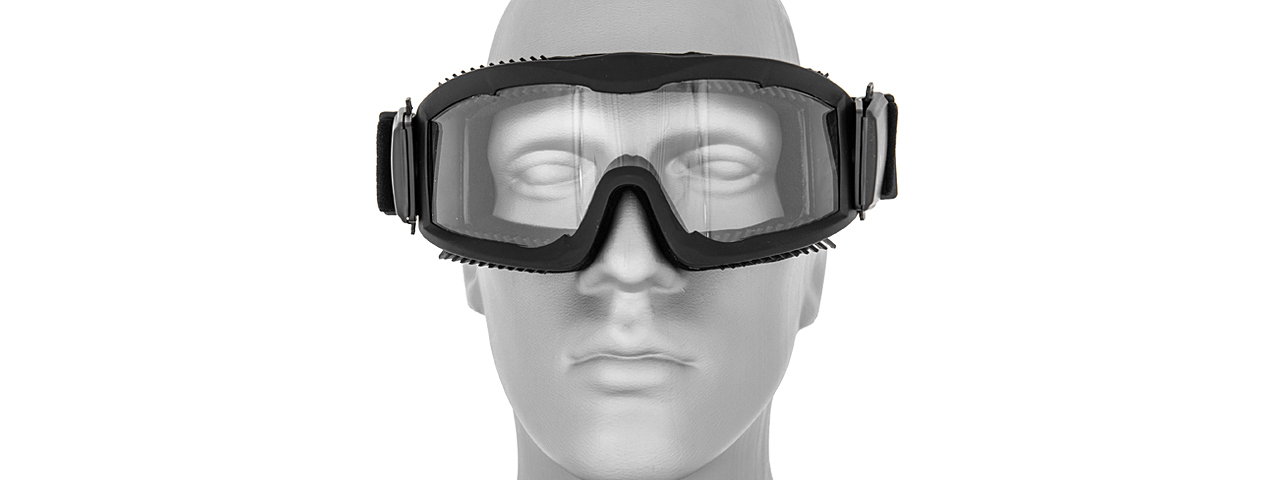 CA-221B AIRSOFT SAFETY GOGGLES W/STYLIZED VENTS (BLACK) LENS: CLEAR