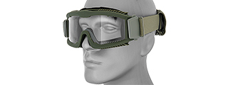 CA-221G AIRSOFT SAFETY GOGGLES W/STYLIZED VENTS (OD GREEN) LENS: CLEAR