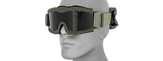 CA-221GB AIRSOFT SAFETY GOGGLES W/STYLIZED VENTS (OD GREEN) LENS: SMOKE GRAY