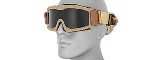 CA-221TB AIRSOFT SAFETY GOGGLES W/STYLIZED VENTS (TAN) LENS: SMOKE GRAY