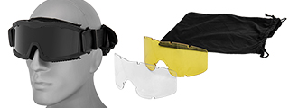Lancer Tactical CA-223B Airsoft Safety Mask Vented with Multi Lens Kit - Black Frame / Smoke, Clear and Yellow Lens