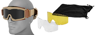 Lancer Tactical CA-223T Airsoft Safety Mask Vented with Multi Lens Kit - Desert Tan Frame / Smoke, Clear and Yellow Lens