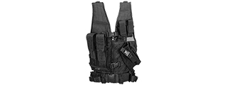 CA-310KBN NYLON YOUTH SIZE CROSS DRAW VEST W/HOLSTER (BLK)