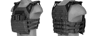 LANCER TACTICAL 1000D NYLON AIRSOFT AIRSOFT PLATE CARRIER W/ MOLLE WEBBING (BLACK)