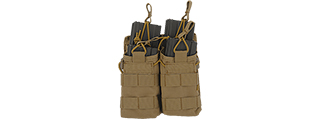 CA-378T MOLLE BUNGEE OPEN TOP QUAD MAGAZINE POUCH (TAN)