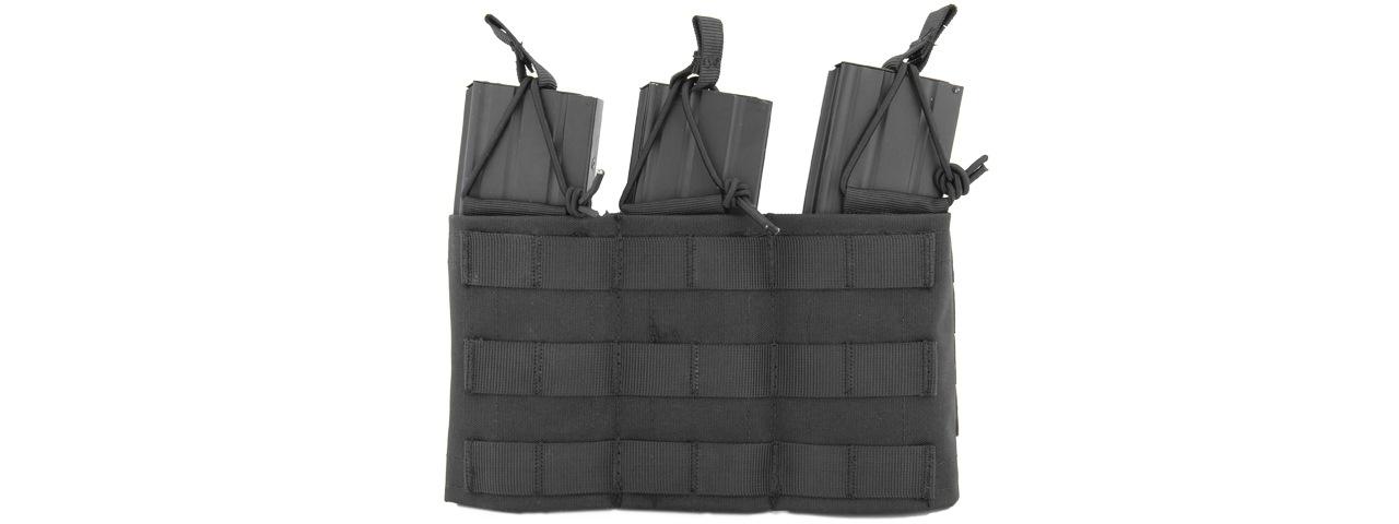CA-379B MOLLE BUNGEE TRIPLE MAG POUCH w/VARIABLE DEPTH ADJUSTMENT (COLOR: BLACK)