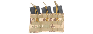 CA-379C MOLLE BUNGEE TRIPLE MAG POUCH w/VARIABLE DEPTH ADJUSTMENT (COLOR: CAMO)