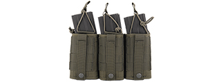 CA-379G MOLLE BUNGEE TRIPLE MAG POUCH w/VARIABLE DEPTH ADJUSTMENT (COLOR: OD GREEN)
