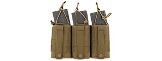 CA-379TN NYLON VARIABLE DEPTH ADJUSTMENT MOLLE TRIPLE MAG POUCH (TAN)