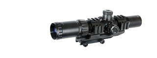 Lancer Tactical CA-409B 1.5-4x Illuminated MIL Dot Rifle Scope, Red/Green Dot