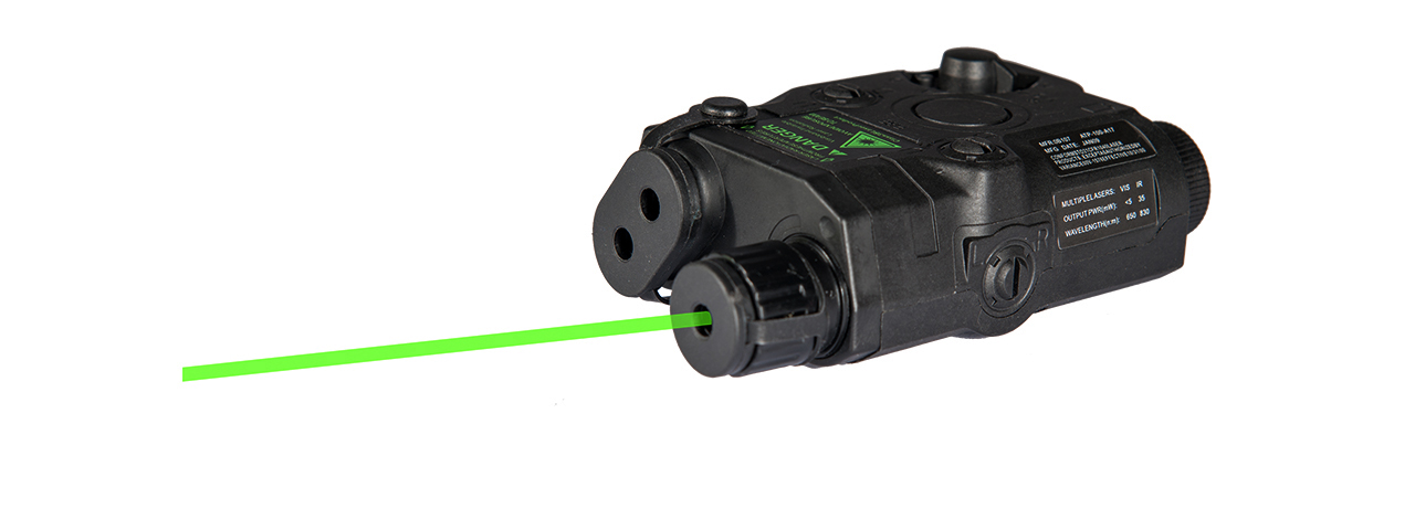 PEQ-15 BATTERY CASE + GREEN LASER (COLOR: BLACK)