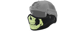 Lancer Tactical CA-801S HELMET Armour Face in Black with White Skull