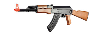 CM022 ABS PLASTIC AK47 AEG AIRSOFT RIFLE - (BLACK/FAUX WOOD)