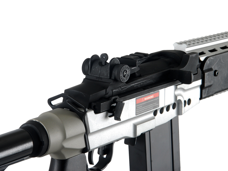Cyma CM032EBR-S M14 EBR RIS AEG Metal Gear, Full Metal Body, Adjustable Crane Stock in Silver - Click Image to Close