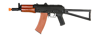 LANCER TACTICAL FULL METAL AK-74UN AIRSOFT AEG RIFLE W/ REAL WOOD (BLACK )
