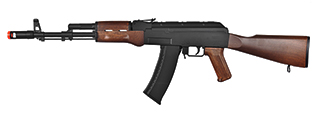 WELLFIRE AIRSOFT POLYMER AK47 AEG RIFLE - BLACK/WOOD