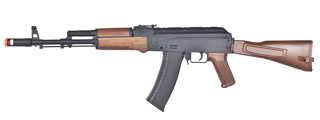 WELL D74 AK-74 PLASTIC GEAR AIRSOFT GUN (COLOR: BLACK & WOOD)