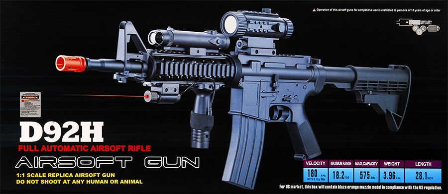 Well D92H M4 RIS Auto Electric Gun Plastic Gear w/ Flashlight, Laser, Scope, Vertical Grip, Adjustable LE Stock