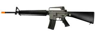 Golden Eagle JG F6607 Super Enhanced M16 A2 AEG Metal Gear, Polymer Body, Fixed Stock