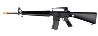 Golden Eagle JG F6618 Super Enhanced M16 A1 Vietnam AEG Metal Gear, Polymer Body, Fixed Stock