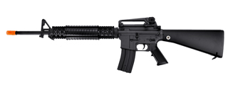 Golden Eagle JG F6620 Super Enhanced M16A4 DMR RIS AEG Metal Gear, Polymer Body, Fixed Stock in Black