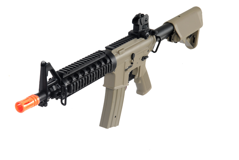 Golden Eagle JG F6624TAN Super Enhanced M4 CQB RIS AEG Metal Gear, Rail Covers, Polymer Body in Tan