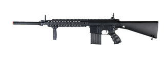 Golden Eagle JG FB6652 SR-25 Long RIS AEG Metal Gear, Full Metal Body, Fixed Stock, Vertical Grip, Barrel Extension