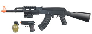 CYMA IU-AK47B TACTICAL AK47 AEG PLASTIC GEAR w/LASER, FLASHLIGHT, P618 PISTOL & 700-RD GRENADE BBs (COLOR: BLACK)