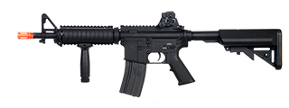 A&K IU-CQBL-NB M4 CQB RIS AEG Metal Gear, Full Metal Body, Free Float RIS, Vertical Foregrip, Retractable Crane Stock, Battery and Charger Not Included