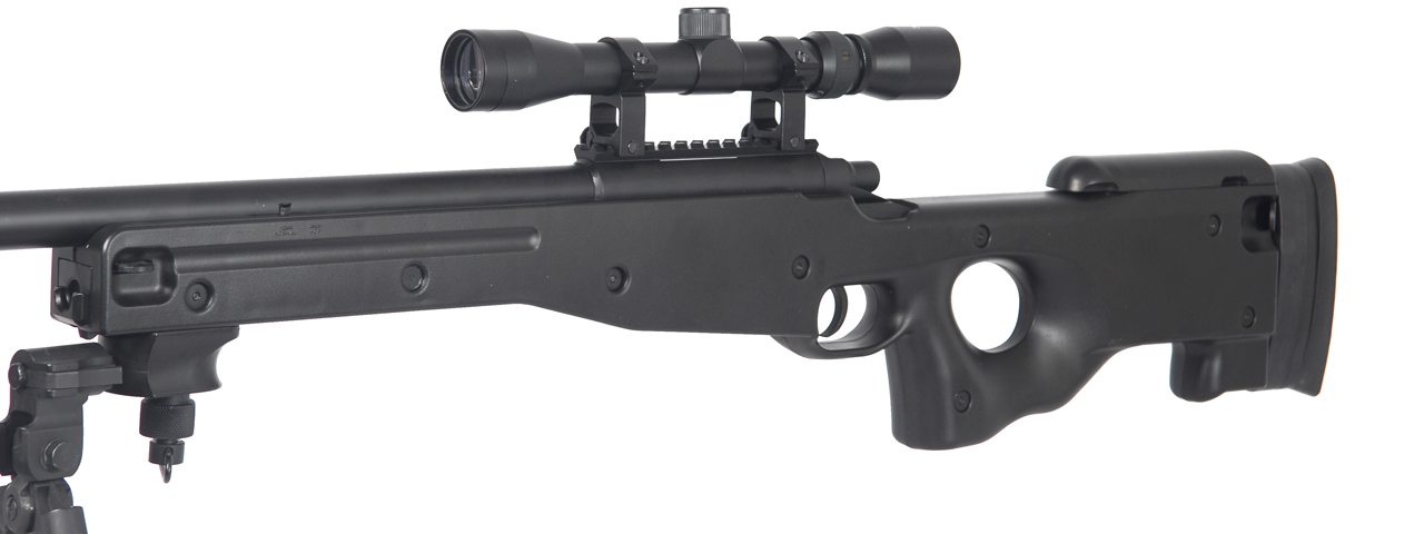 AGM IU-L96BAB BOLT ACTION SNIPER RIFLE w/ SCOPE & BI-POD (COLOR: BLACK)