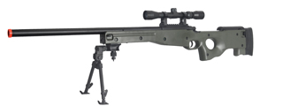 AGM IU-L96GAB BOLT ACTION SNIPER RIFLE w/ SCOPE & BI-POD (COLOR: OD GREEN)