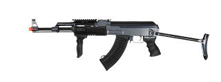 JG JG0513MG Tactical AK-47 RIS AEG Metal Gear, Polymer Body, Under Folding Stock, Folding Vertical Foregrip