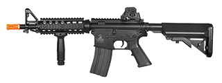 Lancer Tactical LT-02B M4 CQBR MK18 RIS AEG Metal Gear, ABS Body, Adjustable Crane Stock, Rail Covers, Vertical Foregrip