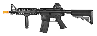 Lancer Tactical LT-02BL M4 CQBR MK18 RIS CQB Field Ready Version ( 350 FPS ) AEG Metal Gear, ABS Body, Adjustable Crane Stock, Rail Covers, Vertical Foregrip