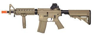 Lancer Tactical LT-02T M4 CQBR Metal Gear AEG, Adjustable Stock, Tan