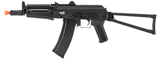 Lancer Tactical LT-07B AK74U AEG Metal Gear, ABS Body, Side Folding Stock, Black Color