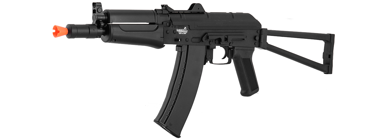 Lancer Tactical LT-07B AKS-74U AEG Metal Gear, ABS Body, Side Folding Stock, Black Color