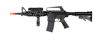 Well M16A4 M4 RIS Spring Rifle w/ Flashlight, Laser, Vertical Foregrip, Retractable Stock