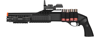 M180B2 SPRING SHOTGUN RIS PISTOL GRIP W/ 4 BULLET SHELLS, SHELL HOLDER, FLASHLIGHT, MOCK RED DOT SCOPE