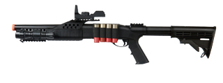 UKARMS M180C2 Spring Shotgun RIS w/ 4 Bullet Shells, Shell Holder, Flashlight, Mock Red Dot Scope, Retractable LE Stock