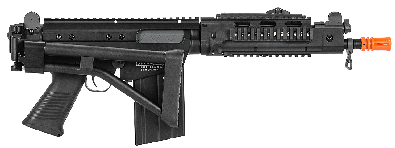 Lancer Tactical M2010-B-NB FAL RIS AEG Metal Gear/Body, Side Folding Stock w/ PEQ Box in Black