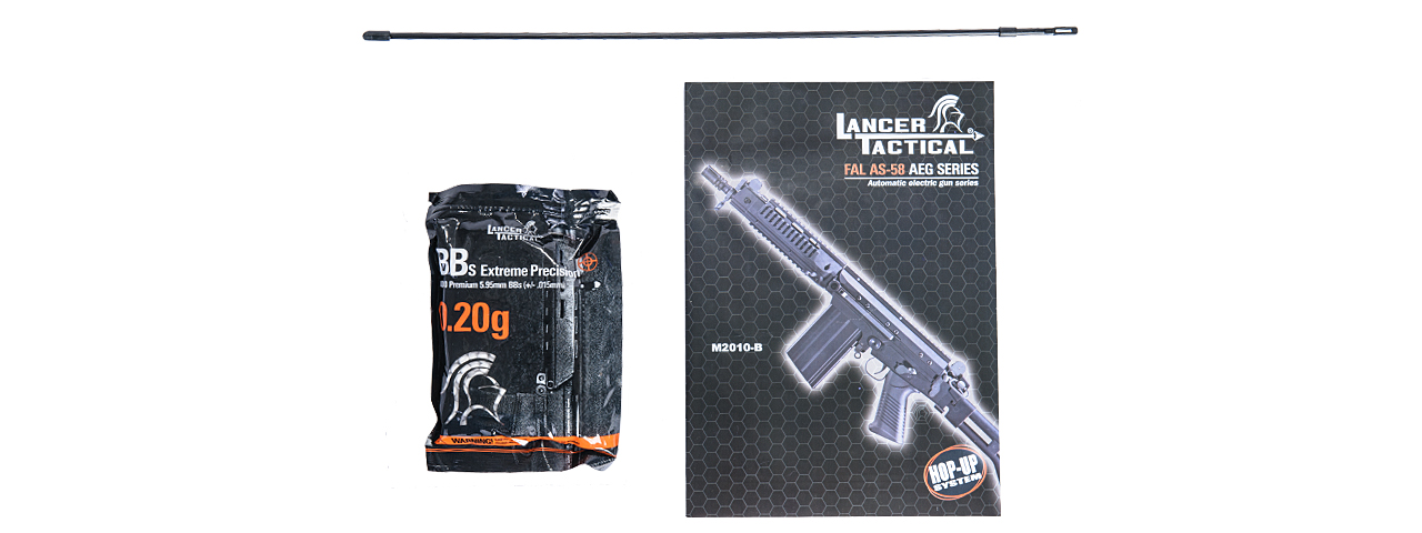 Lancer Tactical M2010-B-NB FAL RIS AEG Metal Gear/Body, Side Folding Stock w/ PEQ Box in Black - Click Image to Close