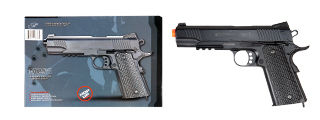 UK ARMS AIRSOFT DE METAL SPRING PISTOL W/ ACCESSORY RAIL - BLACK
