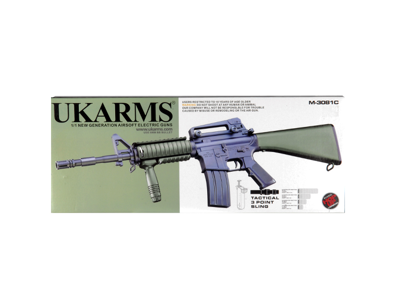 UKARMS M3081C M4 AEG Plastic Gear w/ Rails & Vertical Grip, OD Color