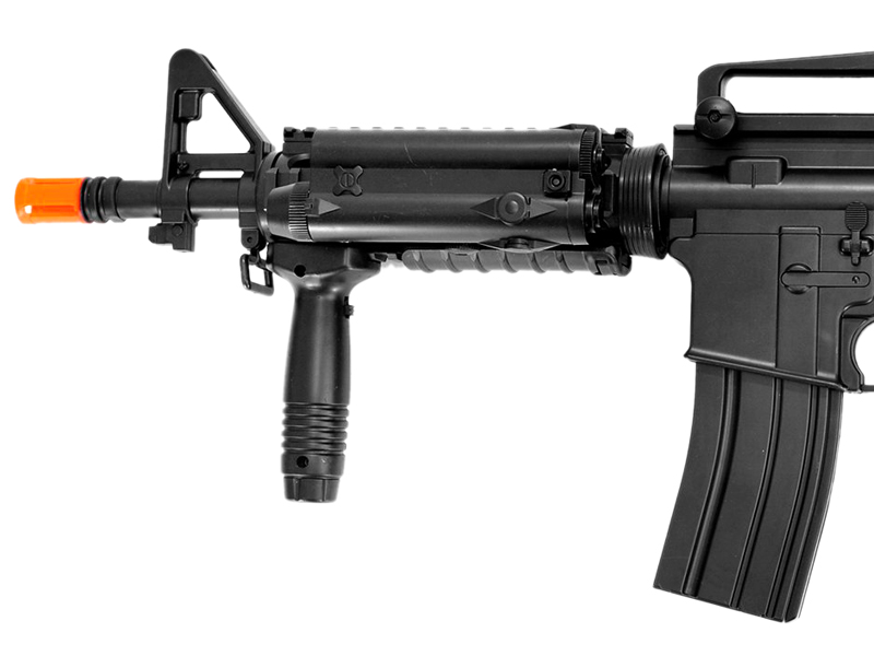 M3081D AEG Plastic Gear CQB M4 w/Rails, Rail Covers, Adjustable Crane Stock, Vertical Fore Grip & Removable Carrying Handle